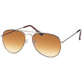 Bling metalen zonnebril - pilot goud / bruin