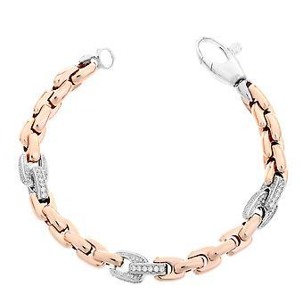 Orphelia Silver 925 Bracelet Rose Square Links Zirc  ZA-7158