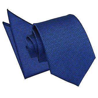 Niebieski Royal grecki klucz krawat i placu kieszeni zestaw