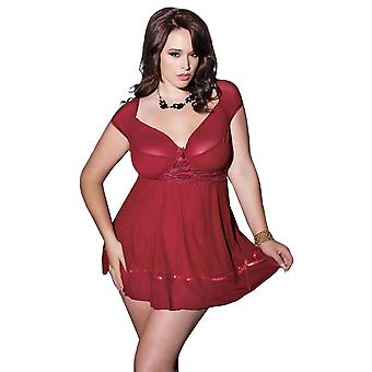 Womens Plus Size Full Figure Gathered Mesh Babydoll Lingerie Top