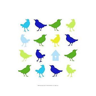 Dyr Sudoku i blå jeg Poster trykk av Chariklia Zarris (13 x 19)