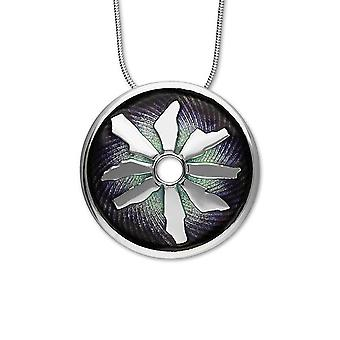 Silver Scottish Ring of Brodgar Northern Lights Enamel Hand Crafted Necklace Pendant - EP399