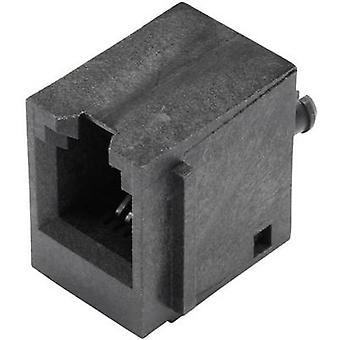 Modüler yapılı çalı dikey flanş soketi ile korumasız, dikey dikey pim sayısı: 4P4C SS65400-001F Siyah BEL Stewart Konektörler SS65400-001F 1