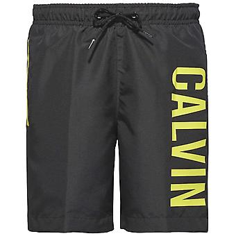 Calvin Klein Boys Intense Power Swim Shorts, Black & Yellow, X-Large