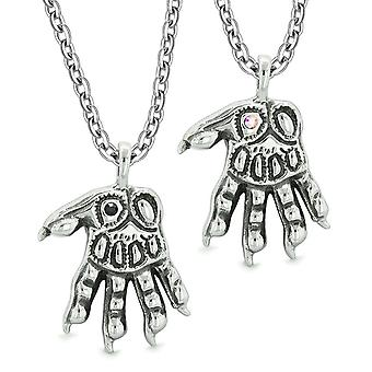 Ihmissusi tassut yliluonnollinen amuletit rakkautta parit tai parhaat kaverit musta Rainbow kiteet kaulakorut