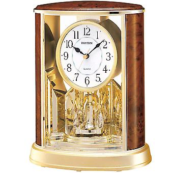 Table clock quartz clock with rotating pendulum rhythm housing wooden replica in gold 24 x 20 cm