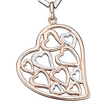 المعلقات قلب الذهب فضة 925 مطلي قلادة الذهب ارتفع ذو لونين