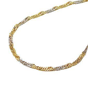 سلسلة 45 سم 1, 8 ملم سنغافورة 9Kt ذو لونين الذهب