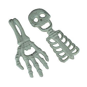 Set di 2 ghisa Halloween apribottiglie scheletro e mano