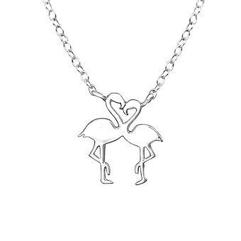 Flamingó Lover - 925 Sterling Ezüst Sima Nyakláncok - W32257x
