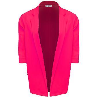Panie podkręcić 3/4 rękaw otwarty przedni teksturowanej długi Blazer kurtka damska