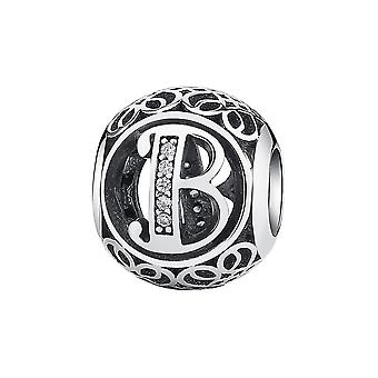 Sterling silver charm with zirconia stones letter B