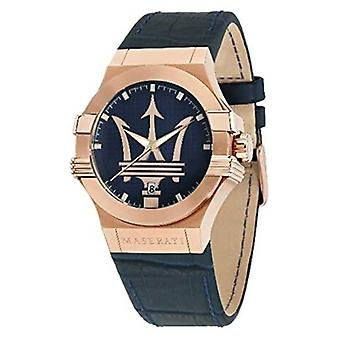 Maserati Mens Potenza 42mm | Gold Plated Case | Blue Dial R8851108027 Watch