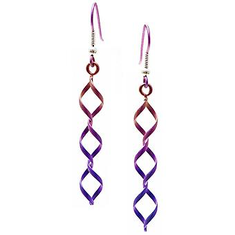 Ti2 Titan Wirework diamant Triple Drop örhängen - rosa