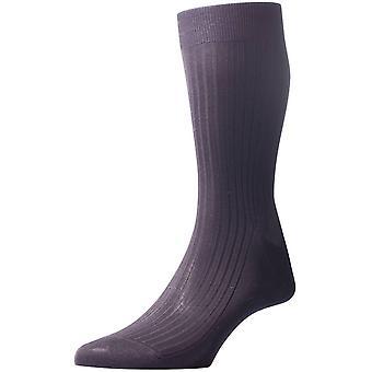 Pantherella Vale Rib Cotton Lisle Socks - Dark Grey Mix
