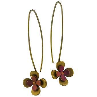 Orecchini pendenti TI2 titanio doppio quattro petali di fiori - Brown