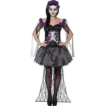 Smiffy's Day Of The Dead Senorita Costume, With Printed Top