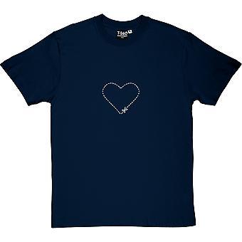 Cut-Out Heart Navy Blue Men's T-Shirt