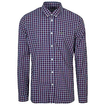 Lacoste vanlig montering Navy langermet sjekk skjorte