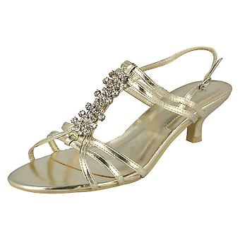 Ladies Spot On Wide Fit Diamante Strappy Heeled Sandal