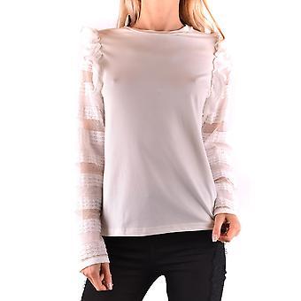 Pinko Ezbc056224 Kvinder's Hvid Bomuldsweater