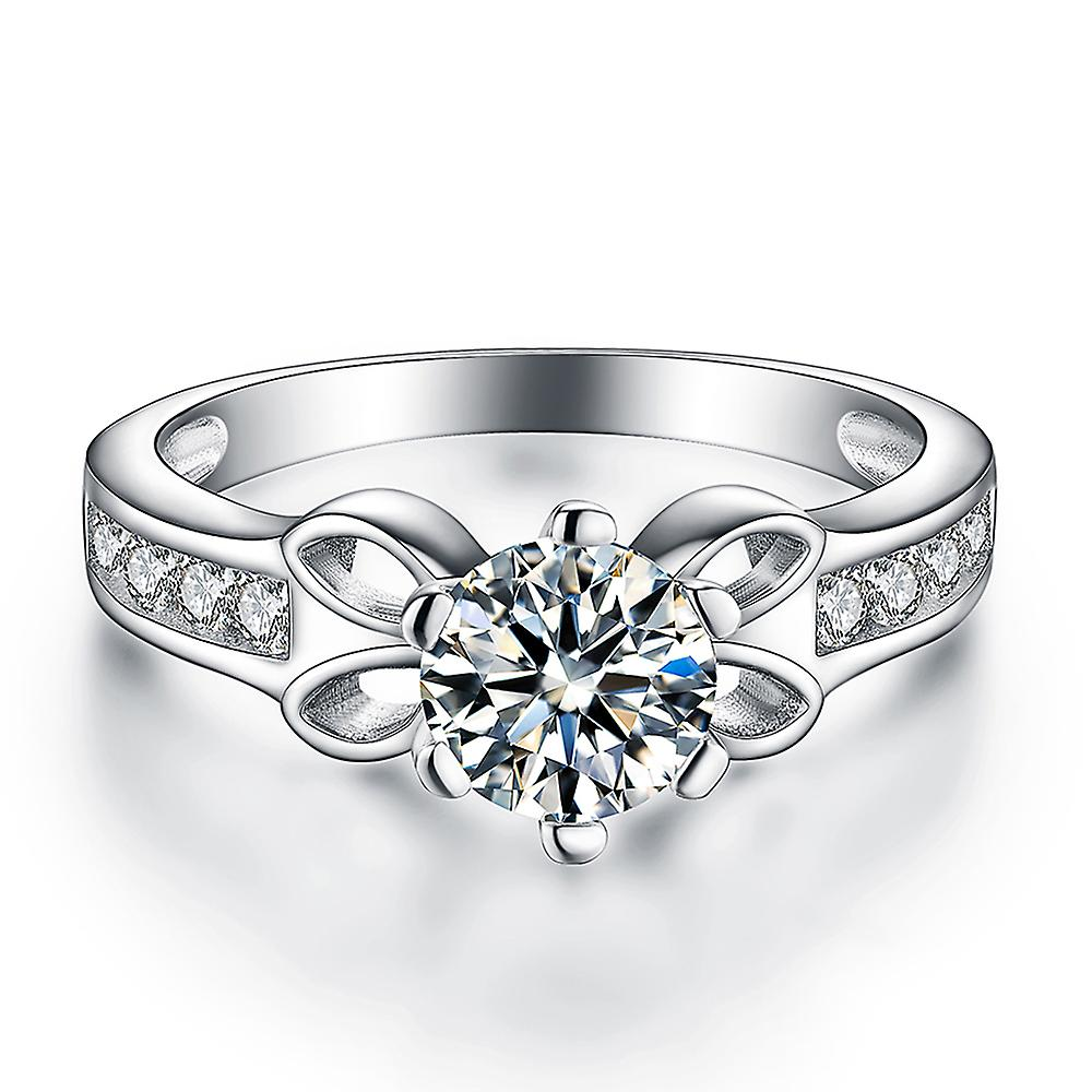 925 Sterling Silver Bow Accent Solitaire Engagement Ring