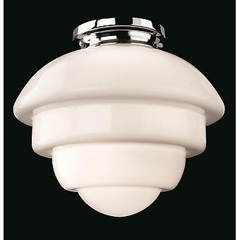 Firstlight-1 lys flush Light krom, Opal hvidt glas-4943CH
