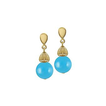 Eternal Collection Solitaire Turquoise Pearl Gold Tone Drop Pierced Earrings