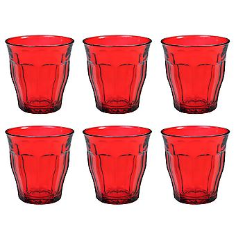 Duralex Set of 6 Picardie Colors Red Tumblers, 25cl