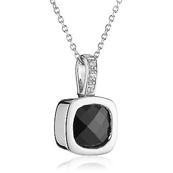 PENDANT WITH CHAIN SQUARE 925 SILVER BLACK ZIRCONIUM