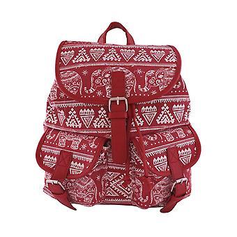 Ryggsäck i canvas, mönstrad med elefanter - Röd
