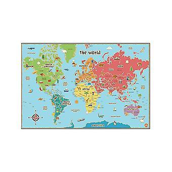 Wallpops Kids laminerad världs karta med Dry Erase penna
