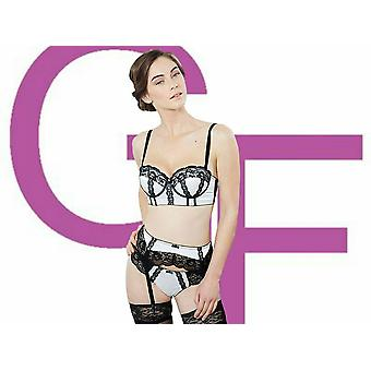 Guy de France donna Claudine Avorio Nero Satin e Pizzo Suspender Cintura