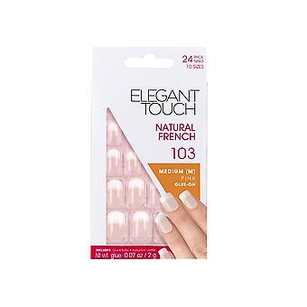Elegante Touch natürliche Französisch falsche Nägel (x24 Set) - Medium Pink Kleber-On 103