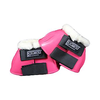 Roma Fleece Trim Rubber Bell Boots - Pink/white