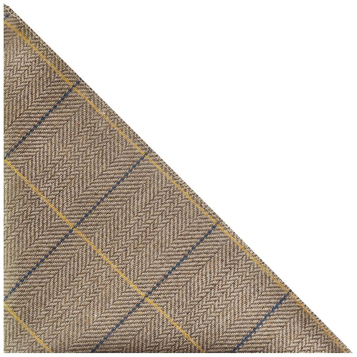 Luxury Light Oak Herringbone Check Pocket Square, Handkerchief, Tweed