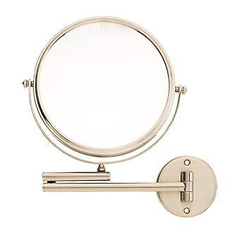 Danielle 20cm Dia Wall Mounted Satin Nickel Mirror 8x Magnifying