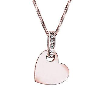Diamore Necklace with Leaning Woman's Heart in Silver 925 - Rose Gold Plated with Diamond 005 ct - Brilliant Cut