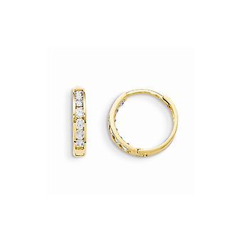 14k Ouro Amarelo Aro articulado articulado CZ Uzicíbica Brincos de Argola de Diamante Simulado Medidas 14x14mm Joias G