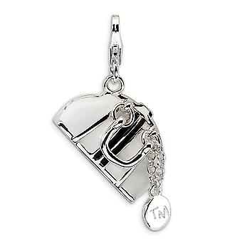 925 Sterling Silver Solid Hinged Polished Moveable Rhodium plated Fancy Lobster Closure 3 D Enameled Purse With Lobster