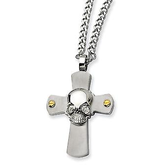 Stainless Steel Brushed Polished Engravable Fancy Lobster Closure Skull Religious Faith Cross Necklace 24 Inch Jewelry G