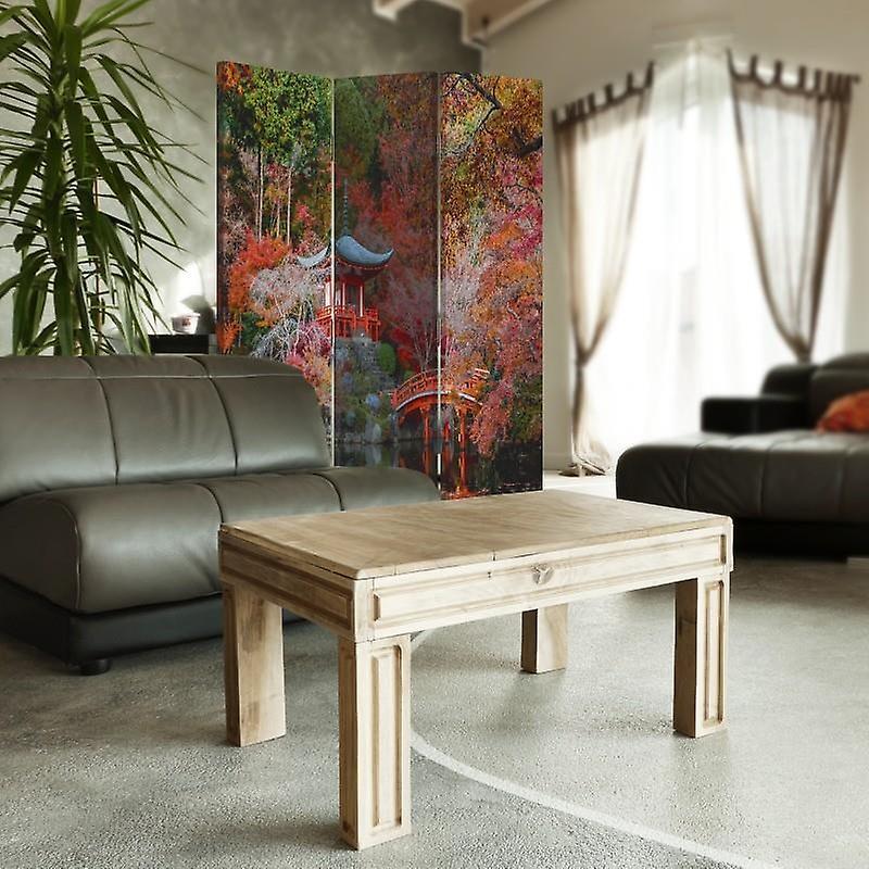 Diviseur de chambre, 3 panneaux, unilatéral, toile, jardin dans le modèle japonais