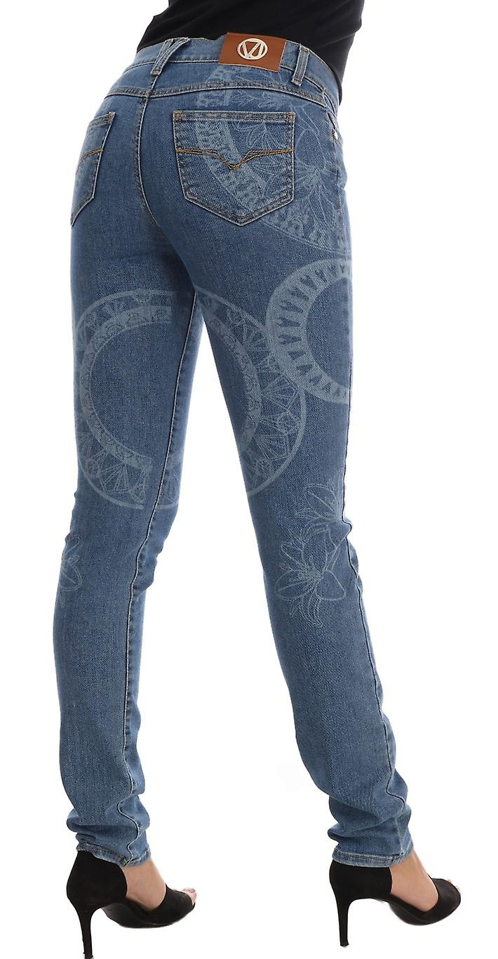 Blue Wash Print Stretch Slim Fit Jeans