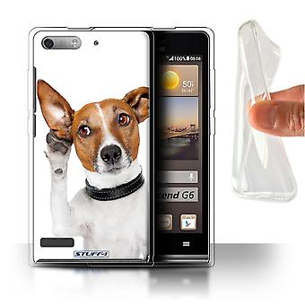 STUFF4 Gel/TPU Case/Cover für Huawei Ascend P6 Mini/hören Hund/Funny Animals