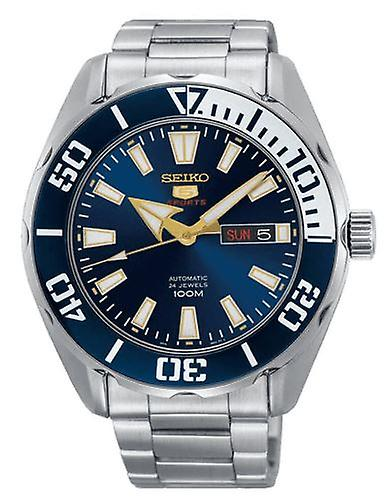 Seiko 5 Sports Silver Steel Blue Dial Automatic Men's Watch SRPC51K