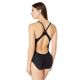 Nike Swim Women's Solid Racerback One Piece Swimsuit, Negro, 38