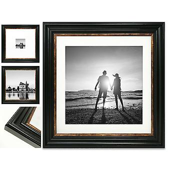 Square Photo Picture Frame Black Gold Vintage Wide Instagram Wall Mount