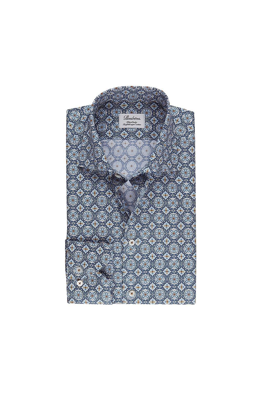 Stenstroms Stenstoms Fitted Long Sleeved Shirt Blue Tile