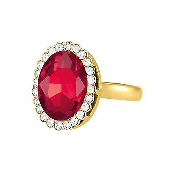 Eternal Collection Countess Oval Light Siam Red Crystal Gold Tone Costume Ring