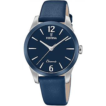 Uhr Festina F20473-5 - CERAMIC Bo Tier Stahl Silber Leder Armband blau Blackout Blau Frauen